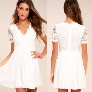 Lulus Angel In Disguise White Lace Skater Dress
